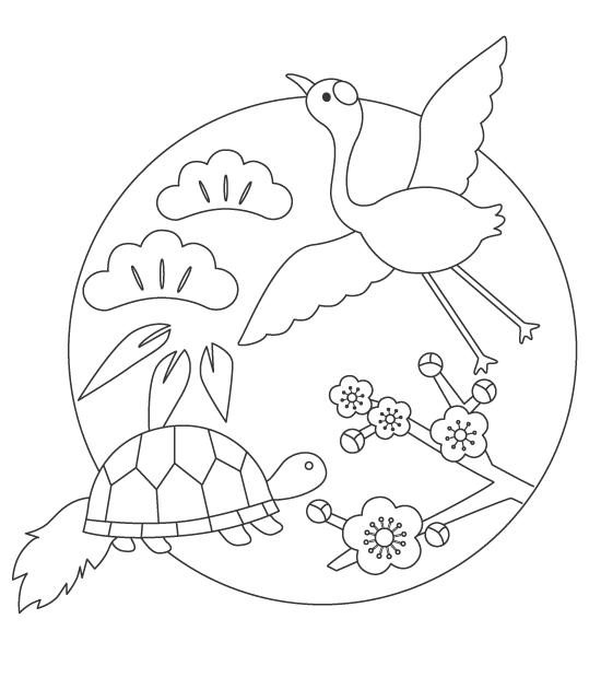 鶴と亀のぬりえイラスト