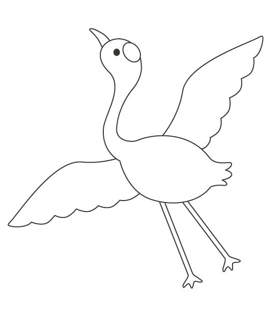 鶴のぬりえイラスト