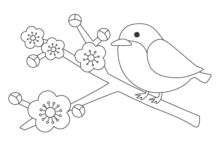 梅とうぐいす(鶯)のぬりえ