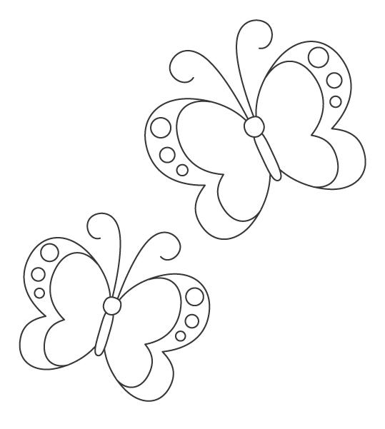二匹の蝶々のぬりえイラスト