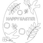 「HAPPY EASTER」と鳥のぬりえイラスト