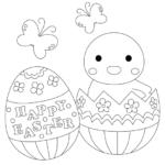 イースターエッグとヒヨコのぬりえイラスト03