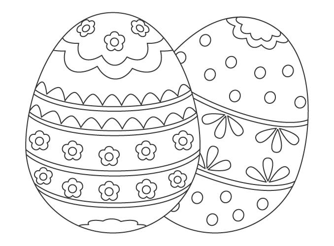 イースターエッグ(2個)のぬりえイラスト