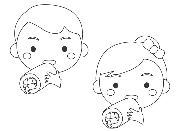 恵方巻きを食べる子どもたちのぬりえイラスト