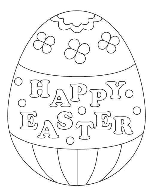 「HAPPY EASTER」の文字入りイースターエッグのぬりえイラスト