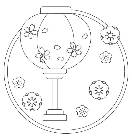 ぼんぼり(雪洞)のぬりえイラスト