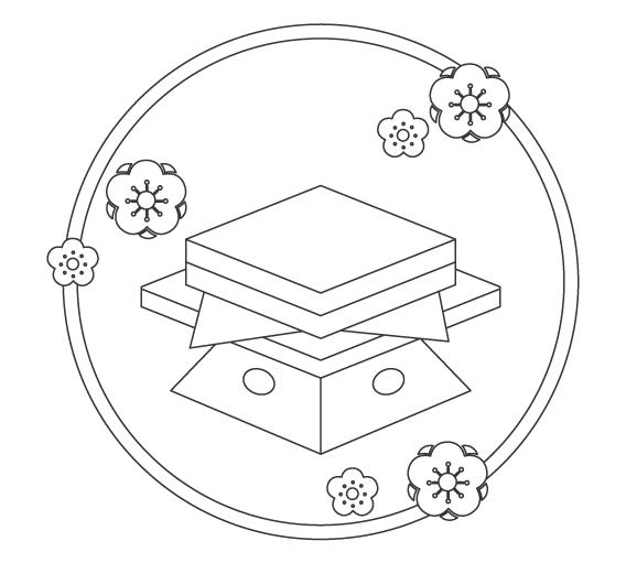 ひな祭りの菱餅のぬりえイラスト