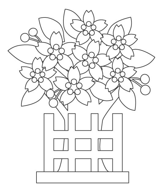 ひな祭りに飾る桃の花のぬりえイラスト