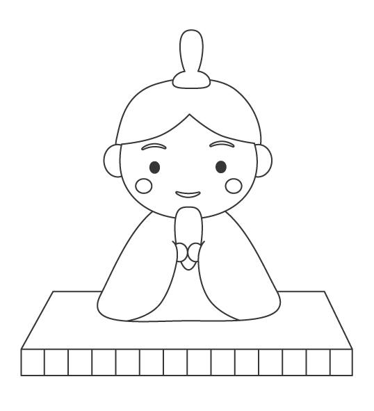 かわいい男雛(おびな)のぬりえイラスト