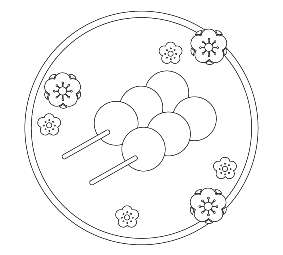 ひな祭り・串のお団子のぬりえイラスト