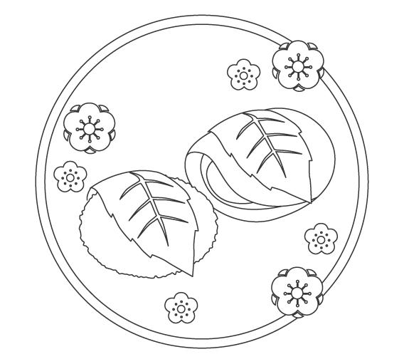 ひな祭り・桜もち/道明寺のぬりえイラスト