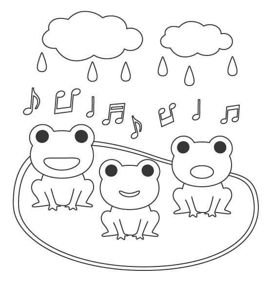 梅雨・カエルの合唱のぬりえイラスト