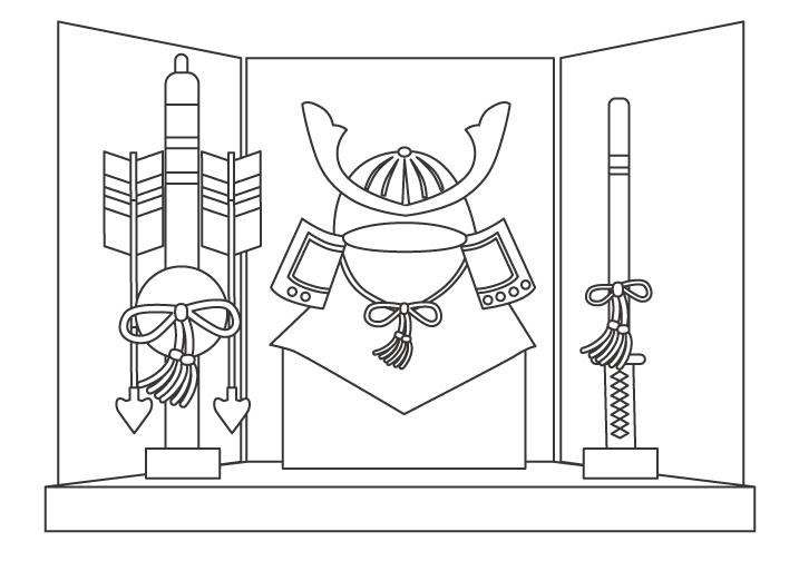 子どもの日の五月人形のぬりえイラスト