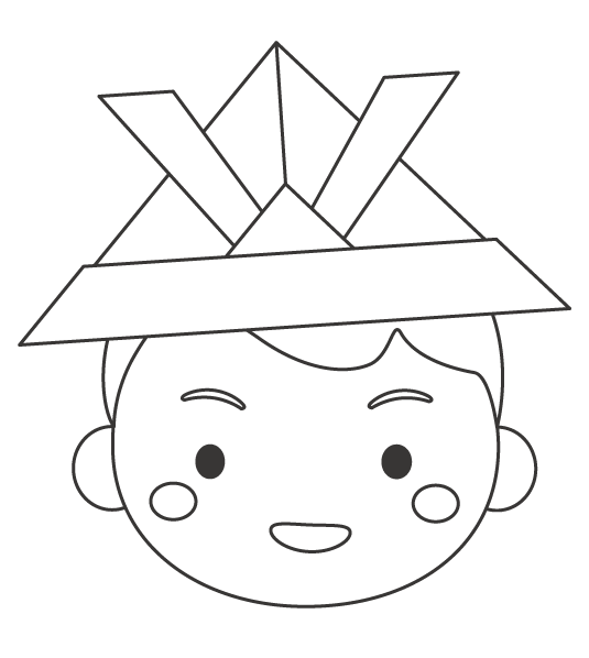 折り紙の兜をかぶった子どものぬりえイラスト