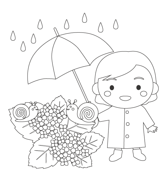 傘をさす女の子と紫陽花とカタツムリのぬりえイラスト