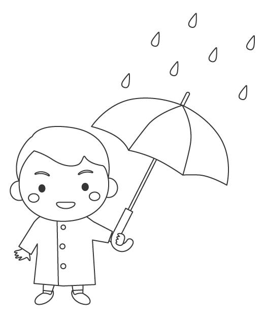 雨の日に傘をさす男の子のぬりえイラスト