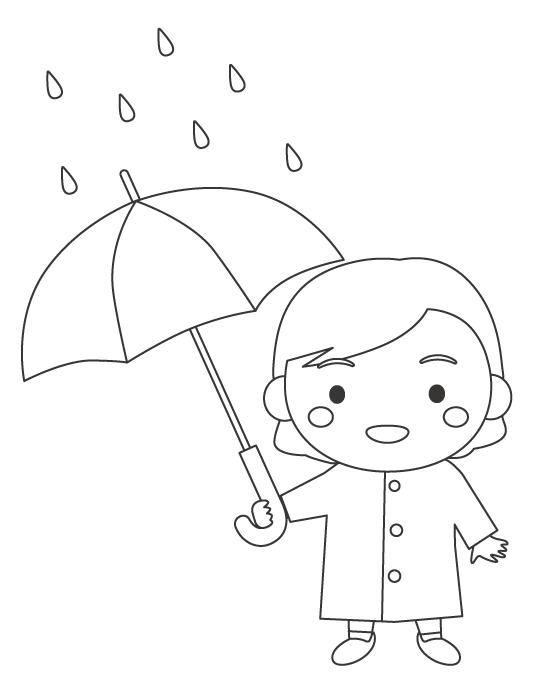 雨の日に傘をさす女の子のぬりえイラスト