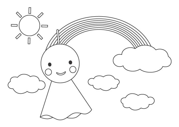 晴れの太陽と虹とてるてる坊主のぬりえイラスト