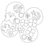 テントウムシや蝶々の春のぬりえイラスト