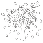 桜吹雪と鳥のぬりえイラスト
