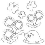 モグラやたんぽぽの春のぬりえイラスト