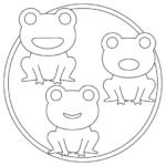 梅雨・カエル(蛙)のぬりえイラスト