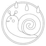 梅雨・カタツムリのぬりえイラスト02