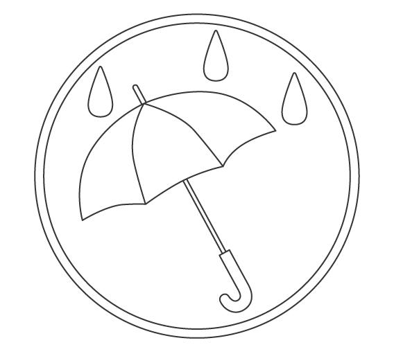 梅雨・傘のぬりえイラスト