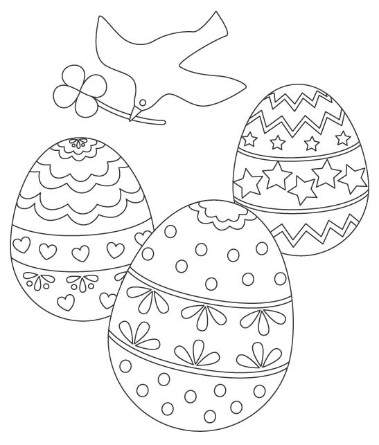 鳥とイースターエッグのぬりえイラスト