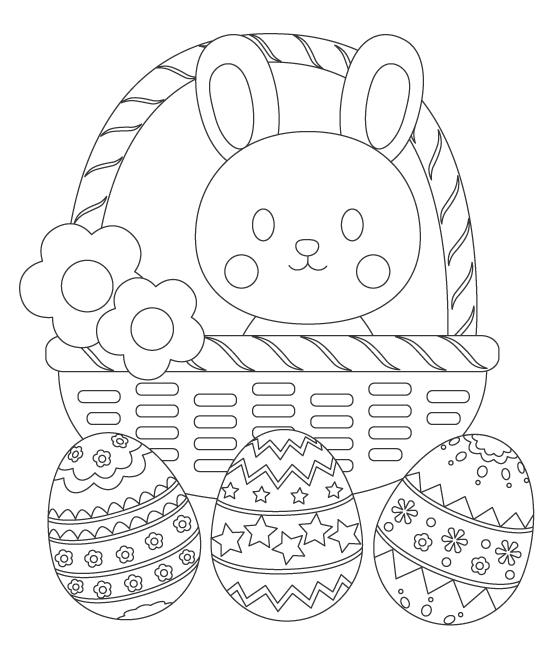 かわいいうさぎとイースターエッグ(3個)のぬりえイラスト