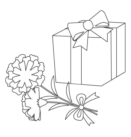 カーネーションとプレゼントの母の日のぬりえイラスト