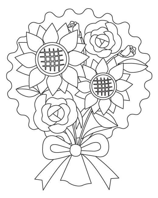 父の日・バラやひまわりの花束ぬりえイラスト