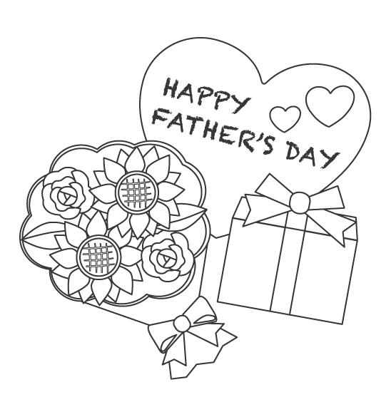 父の日に贈るプレゼントと花束のぬりえイラスト
