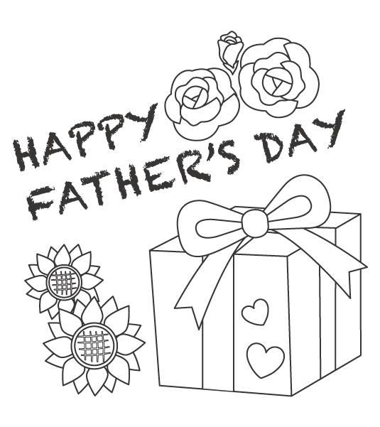 父の日のプレゼントと花のぬりえイラスト