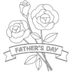 父の日「FATHER'S DAY」のバラのぬりえイラスト