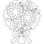 カーネーションの花束のぬりえイラスト
