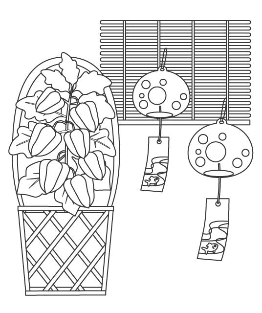 ほおずき(鬼灯)と風鈴のぬりえイラスト