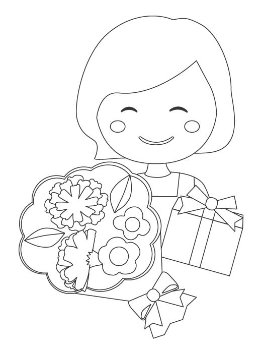 母の日・お母さんへプレゼントぬりえイラスト
