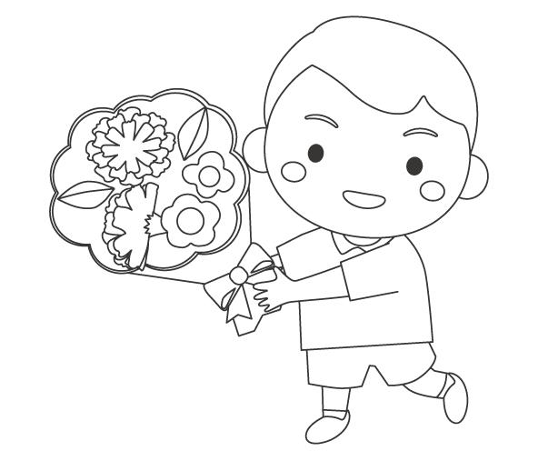 母の日・お母さんへ花束をプレゼントする男の子のぬりえイラスト