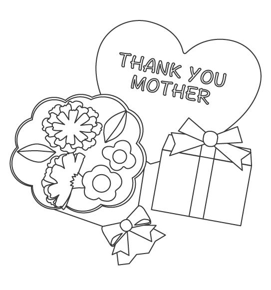 母の日のプレゼントぬりえイラスト02
