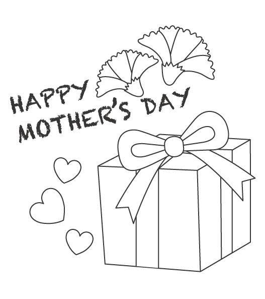 母の日のプレゼントぬりえイラスト