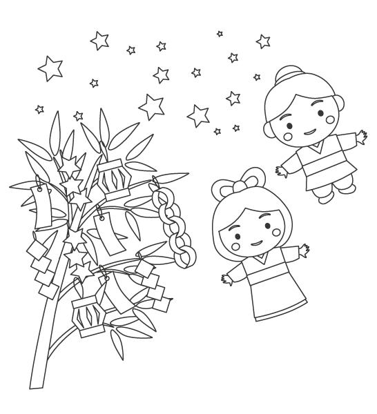 織姫と彦星と七夕飾りのぬりえイラスト