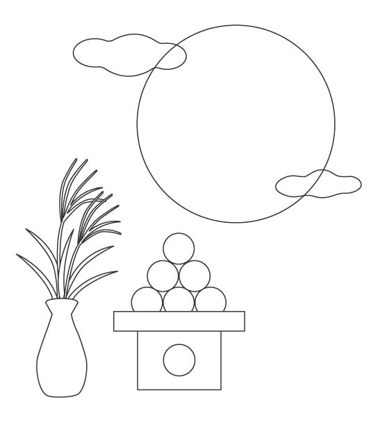 お月見・満月とお団子のぬりえイラスト
