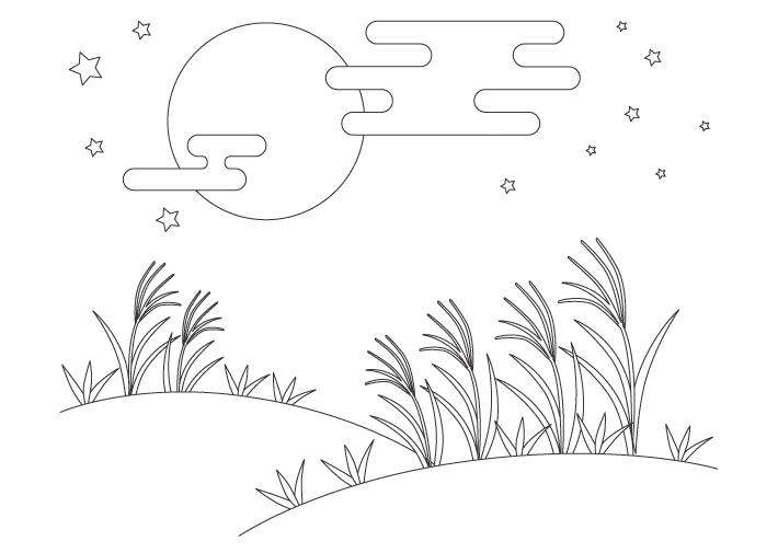 十五夜のお月見のぬりえイラスト