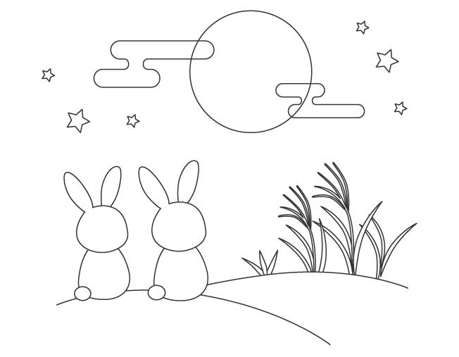 お月見をしている二匹のうさぎのぬりえイラスト