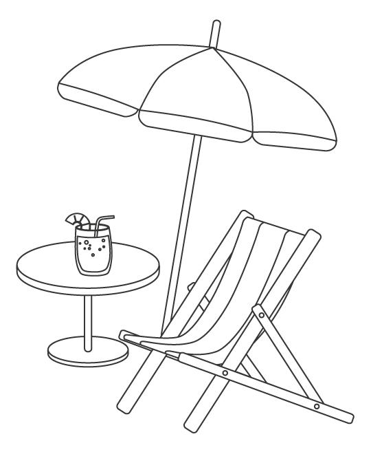 ビーチパラソルとデッキチェアのぬりえイラスト