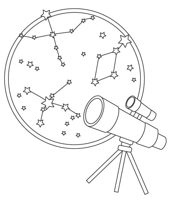 望遠鏡で天体観測のぬりえイラスト