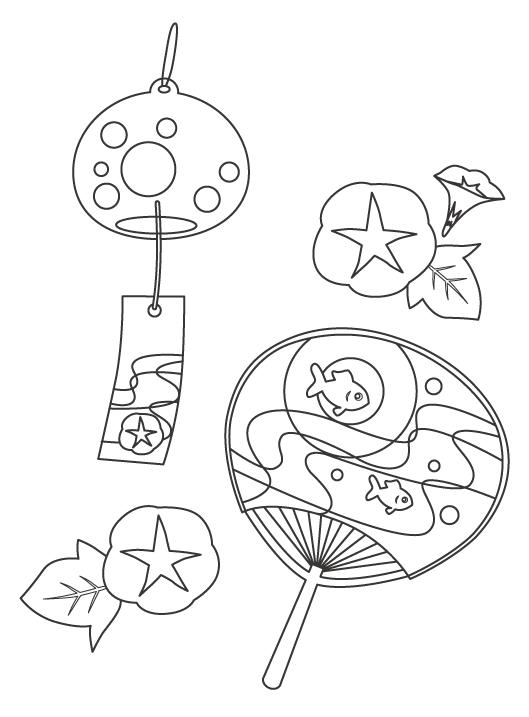 風鈴や団扇(うちわ)などの夏のぬりえイラスト