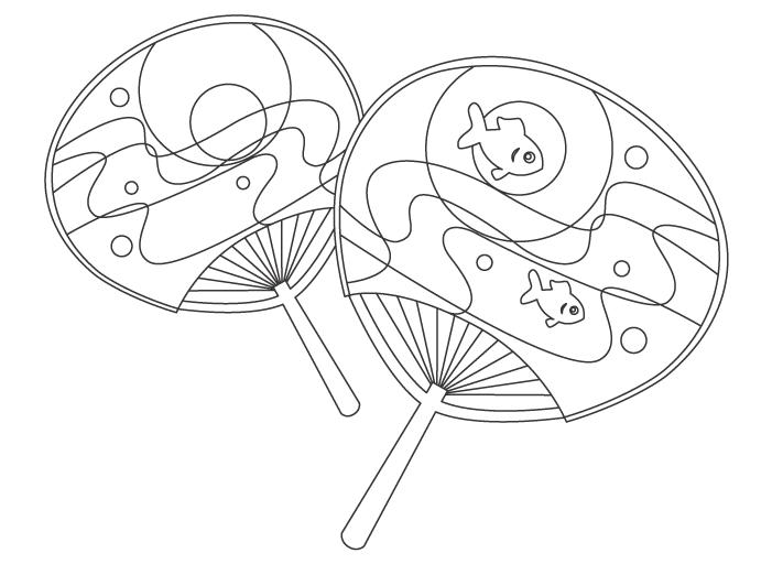 涼し気な模様の団扇(うちわ)のぬりえイラスト