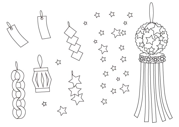 七夕飾りや星のぬりえイラスト